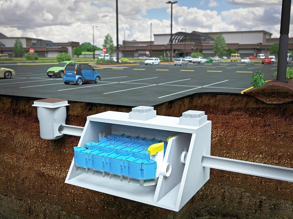 Up-Flo Filter stormwater treatment system installed beneath a parking lot