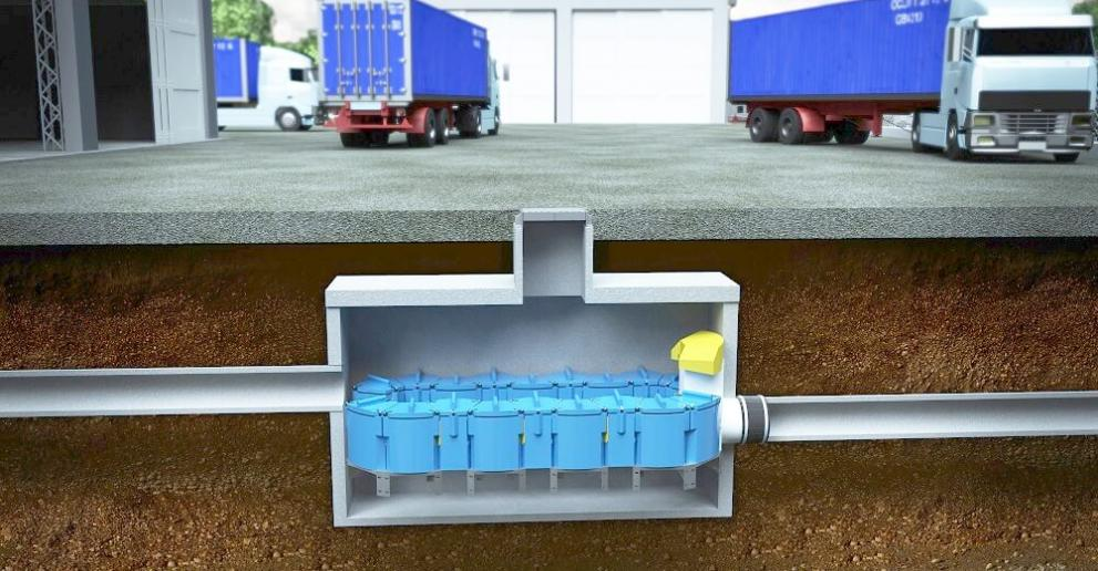 Up-Flo Filter installed beneath a warehouse to capture industrial stormwater pollution